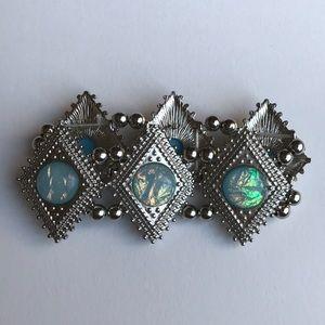 Silver Bracelet w/ Blue Opalescent Stones